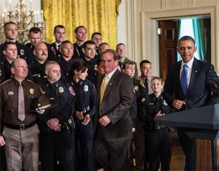 "Tom Nee, President of the Boston Police Patrolmen's Association in the Oval Office last May when President Obama honored the NAPO ""Top Cops."" Nee also serves as the president of NAPO."