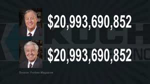 Charles and David Koch are each worth over $20 billion dollars. Calculating an interest rate on their money at 10% means they each earn $5,479,000 a day (that's 5 million, 475 thousand every day of the year) -  plenty of money to spend around the world to destroy collective bargaining rights for public sector workers. They've already taken out the private sector unions. Their big guns are now aimed to you.