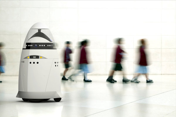 A promotional composite image from Knightscope showing the K5 Autonomous Data Machine.