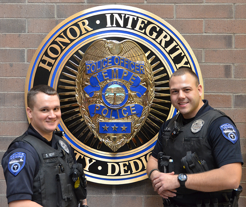 Brave beyond belief. Reno Officers Officer Stephen Neff (left) and Ratko Aleksis.